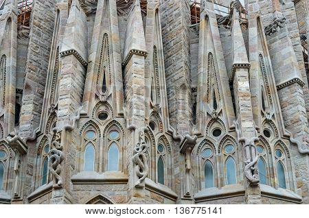 Sagrada Familia Church In Barcelona, Spain.