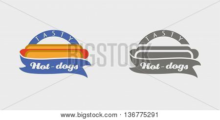 Hotdog Badge, Labels, Logos Or Icons Design Templates. Monochrome And Color