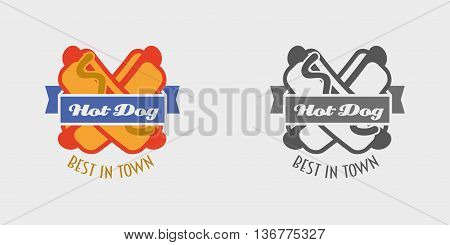 Hot Dog Vector Logo Or Label, Fast Food, Junk Food. Monochrome And Color