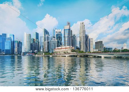 Singapore central quay with water on foreground