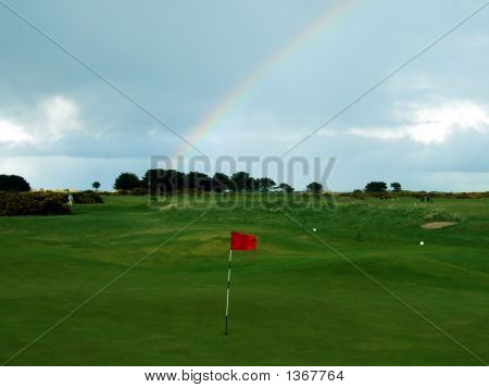 Rainbow On Golf Course