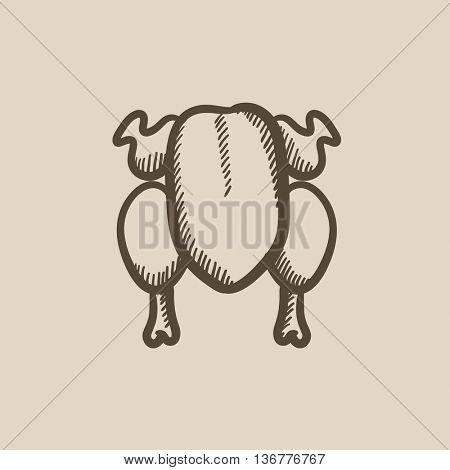 Raw chicken vector sketch icon isolated on background. Hand drawn Raw chicken icon. Raw chicken sketch icon for infographic, website or app.