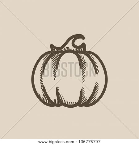 Pumpkin vector sketch icon isolated on background. Hand drawn Pumpkin icon. Pumpkin sketch icon for infographic, website or app.