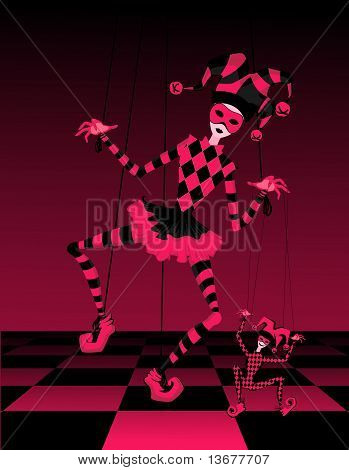 Cartoon court jester holds a marionette