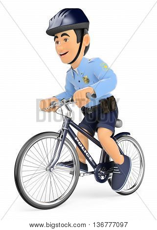 3d security forces people illustration. Policeman on bicycle. Isolated white background.