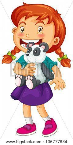 Little girl holding panda bear illustration