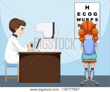Girl having her eyes checked  illustration