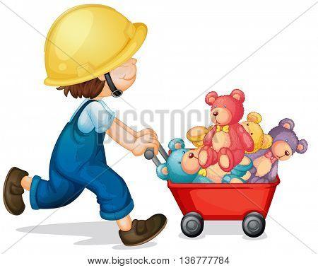 Boy pushing cart full of teddy bears illustration