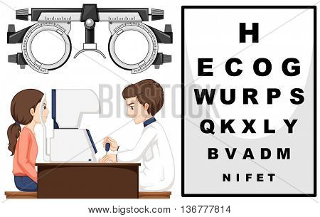 Eye doctor and patient illustration