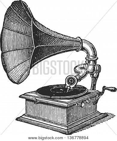 Antique Gramophone Record Player, full vector image