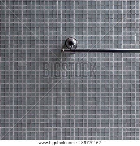 Bathroom, Stainless Steel Towel Rail In Bathroom With Mosaic Tile Wall Background
