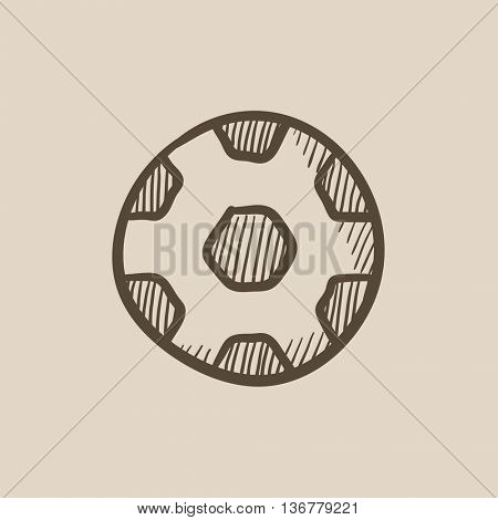 Soccer ball vector sketch icon isolated on background. Hand drawn Soccer ball icon. Soccer ball sketch icon for infographic, website or app.