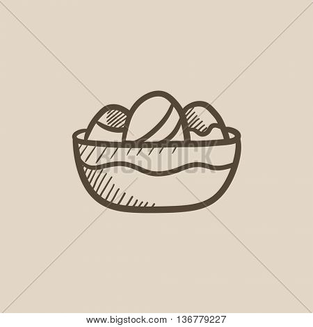 Bowl full of easter eggs vector sketch icon isolated on background. Hand drawn Bowl full of easter eggs icon. Bowl full of easter eggs sketch icon for infographic, website or app.