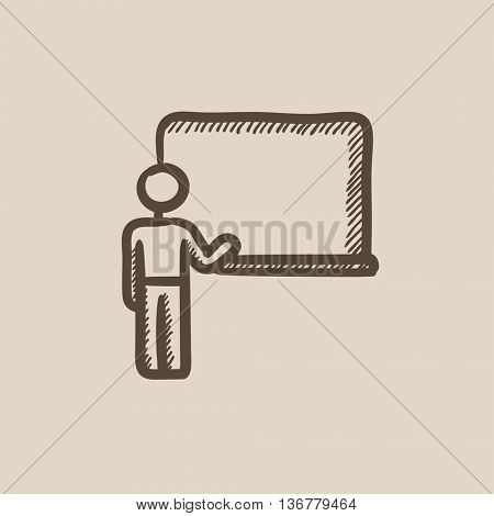 Professor pointing at blackboard vector sketch icon isolated on background. Hand drawn Professor pointing at blackboard icon. Professor and blackboard sketch icon for infographic, website or app.
