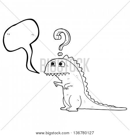 freehand drawn speech bubble cartoon confused dinosaur