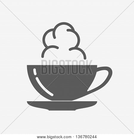 Coffe Or Tea Cup With Steam Cloud. Vector Icon