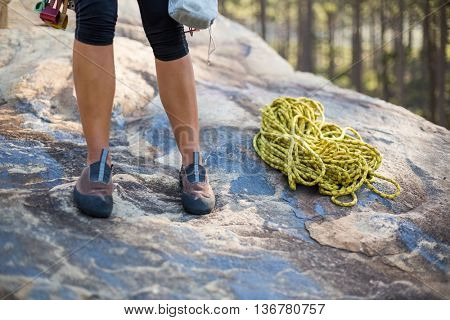 Close up climbers foot with rope