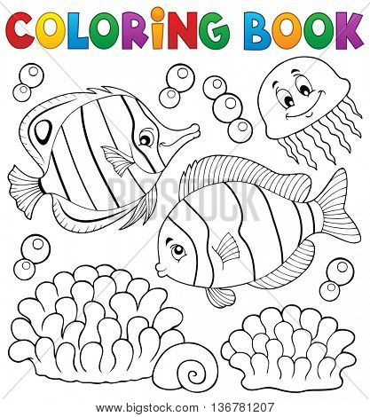 Coloring book coral fish theme 2 - eps10 vector illustration.