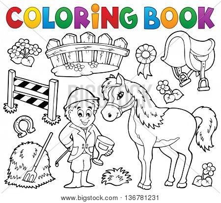 Coloring book jockey and horse thematics - eps10 vector illustration.