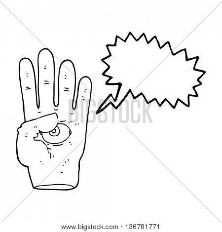 freehand drawn speech bubble cartoon spooky hand with eyeball