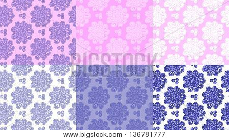 Set of tender seamless patterns with doodle flowers. Vector illustration.
