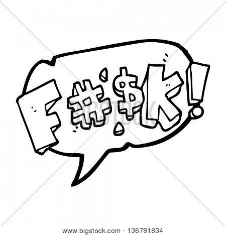 freehand drawn speech bubble cartoon swearword