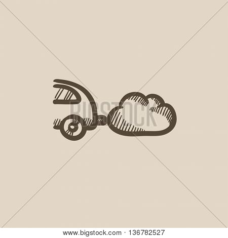 Car spewing polluting exhaust vector sketch icon isolated on background. Hand drawn Car spewing polluting exhaust icon. Car spewing polluting exhaust sketch icon for infographic, website or app.