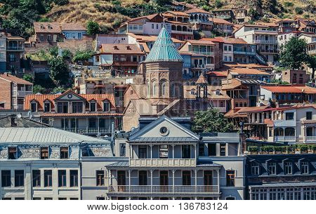 Tbilisi Georgia - July 18 2015. View of XIII century St George cathedral Armenian church on the oldest part of Tbilisi