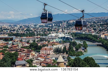 Tbilisi Georgia - July 18 2015. Aerial tramway seen from Narikala hill in Tbilisi