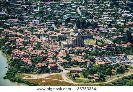 Tbilisi Georgia - July 18 2015. One of the oldest cities in Georgia - Mtskheta city seen from Holy Cross Monastery of Jvari