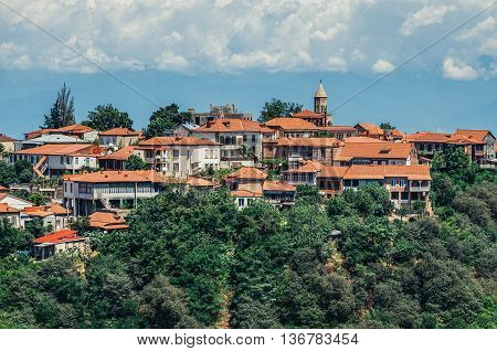 Sighnaghi Georgia - July 19 2015. Aerial view on buildings of Sighnaghi small town in Kakheti district of Georgia