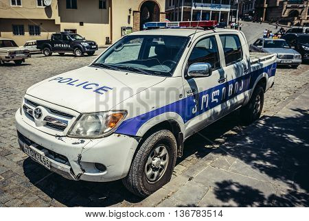 Sighnaghi Georgia - July 19 2015. Toyota police car in Sighnaghi small town in Kakheti district of Georgia