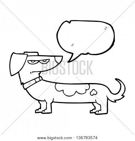 freehand drawn speech bubble cartoon annoyed dog