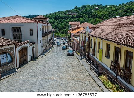 Sighnaghi Georgia - July 19 2015. Street in Sighnaghi small town in Kakheti district of Georgia