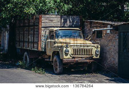 Gori Georgia - July 21 2015. Old rusty Russian GAZ truck in Gori town