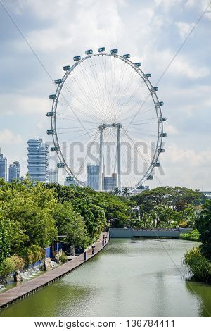 Singapore Flyer the giant ferris wheel in Singapore seen from Gardens by the Bay