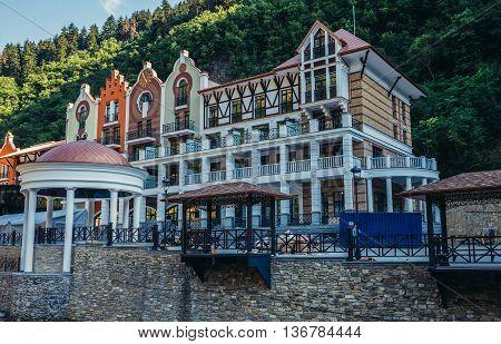 Borjomi Georgia - July 21 2015. Hotels located over Borjomula River in Borjomi city