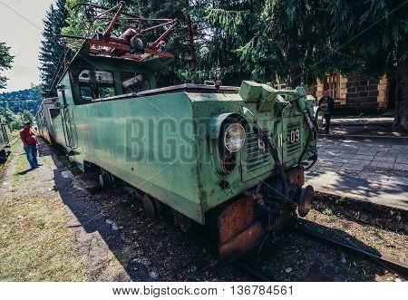 Georgia - July 22 2015. Old Skoda electric engine of Borjomi-Bakuriani narrow gauge railway known as