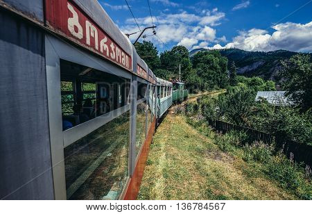 Georgia - July 22 2015. Borjomi-Bakuriani narrow gauge railway known as