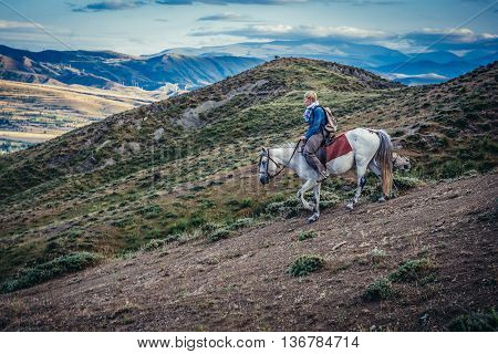Atskuri Georgia - July 22 2015. Horseback riding in Samtskhe-Javakheti region