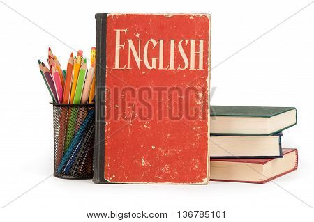 Learn English Concept. School Supplies And Books