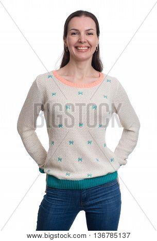 Happy Smiling Woman Dressed In A Blouse