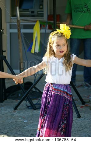 Montenegro, Herceg Novi - 04/06/2016: Girl in fancy costume gypsy. 10 International Children's Carnival