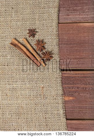 Spices On A Wooden Table.
