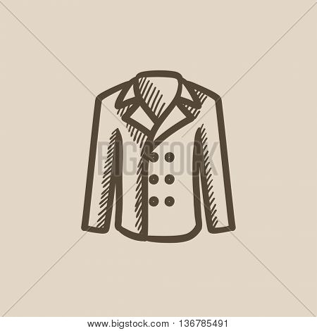 Male coat vector sketch icon isolated on background. Hand drawn Male coat icon. Male coat sketch icon for infographic, website or app.