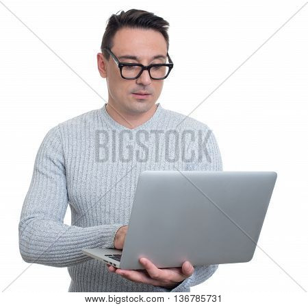 Trendy Young Man With Laptop. Isolated