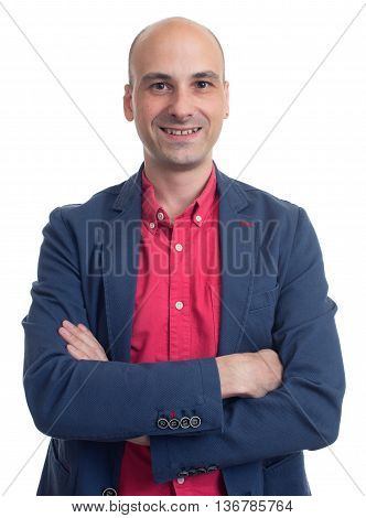 Stylish Handsome Bald Man Wearing Casual Jacket