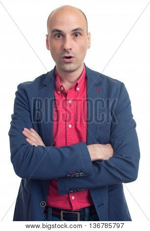Surprised Bald Man Wearing Casual Blue Jacket. Isolated