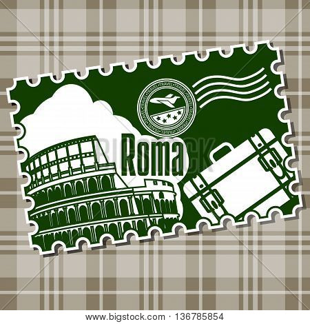 Stamp with the sightseeing on the Colosseum. Vector illustration