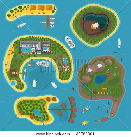 Travel island top view tourism vector illustration in flat style. World travel island top view beach paradise. Water tourism summer holidays vacation island top view journey trip plan.